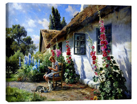Canvas  Knitting girl in front of a hollyhock - Peder Mork Mönsted