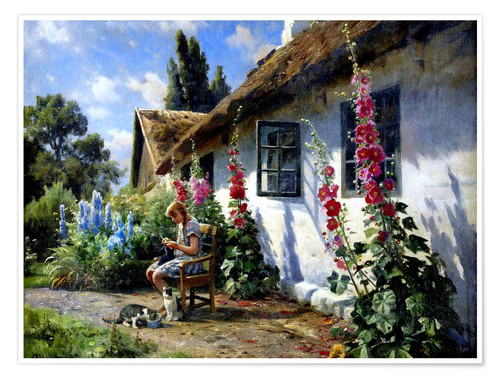 Premium poster Knitting girl in front of a hollyhock