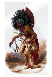Acrylic print  Indians with blue feathered headdress - Karl Bodmer