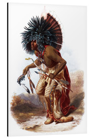 Aluminium print  Indians with blue feathered headdress - Karl Bodmer