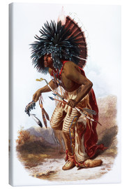 Canvas  Indians with blue feathered headdress - Karl Bodmer