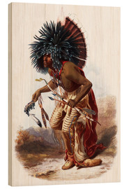 Wood  Indians with blue feathered headdress - Karl Bodmer