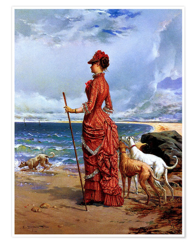 Premium poster Elegant Lady Walking Her Greyhounds on the Beach