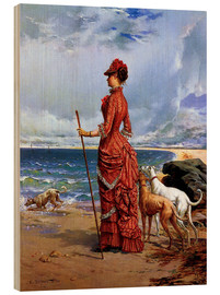 Wood print  Elegant Lady Walking Her Greyhounds on the Beach - Edmond-Louis Dupain