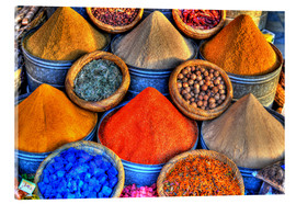 Acrylic print  Colorful oriental spices on the bazaar in Marrakech - HADYPHOTO