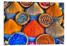 Foam board print  Colorful oriental spices on the bazaar in Marrakech - HADYPHOTO