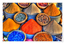 Premium poster Colorful oriental spices on the bazaar in Marrakech