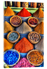 Acrylic print  Colorful spices on the bazaar in Marrakech - HADYPHOTO