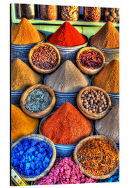 Aluminium print  Colorful spices on the bazaar in Marrakech - HADYPHOTO