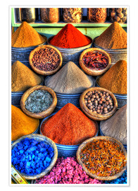 Premium poster  Colorful spices on the bazaar in Marrakech - HADYPHOTO by Hady Khandani