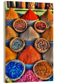 Wood print  Colorful spices on the bazaar in Marrakech - HADYPHOTO