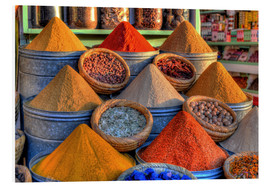 Foam board print  Oriental spices on the bazaar in Marrakech - HADYPHOTO