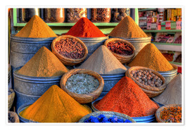 Poster Oriental spices on the bazaar in Marrakech
