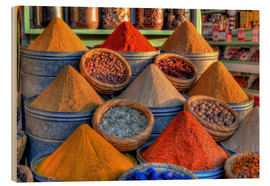 Wood print  Oriental spices on the bazaar in Marrakech - HADYPHOTO