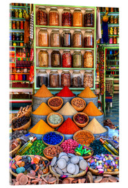 Acrylic glass  Spices on a bazaar in Marrakech - HADYPHOTO by Hady Khandani