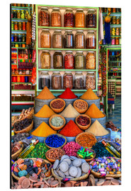 Aluminium print  Spices on a bazaar in Marrakech - HADYPHOTO