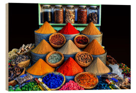 Wood print  Oriental spices in Marrakech - HADYPHOTO by Hady Khandani