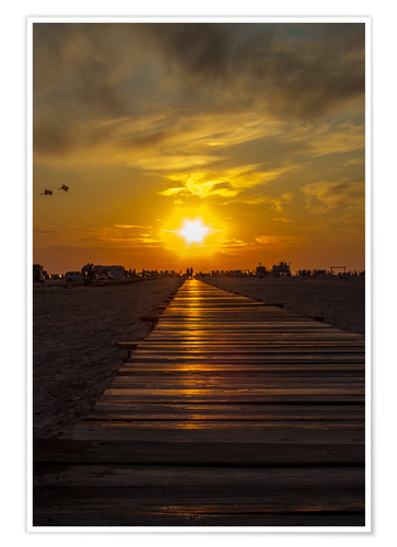 Premium poster Evening sun in St Peter Ording on the North Sea