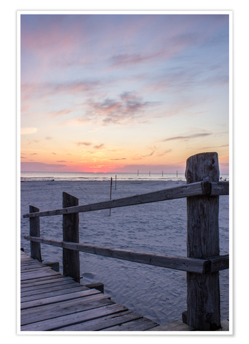 Premium poster Jetty into the sea from St Peter Ording