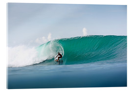Acrylic print  Surfer in paradise - big green surfing wave - Paul Kennedy