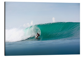 Aluminium print  Surfer in paradise - big green surfing wave - Paul Kennedy