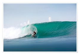 Premium poster Surfer in paradise - big green surfing wave