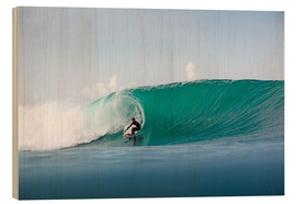 Wood print  Surfer in paradise - big green surfing wave - Paul Kennedy