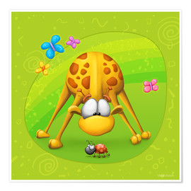 Premium poster Giraffe with beetle