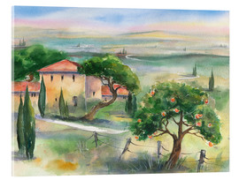 Acrylic print  Tuscany with orange tree - Jitka Krause