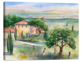 Canvas print  Tuscany with orange tree - Jitka Krause