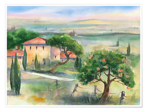 Premium poster Tuscany with orange tree