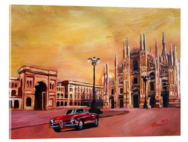 Acrylic glass  Milan Cathedral with Oldtimer Convertible Alfa Romeo - M. Bleichner