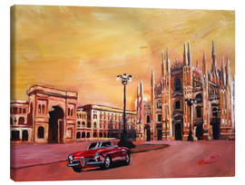 Canvas  Milan Cathedral with Oldtimer Convertible Alfa Romeo - M. Bleichner
