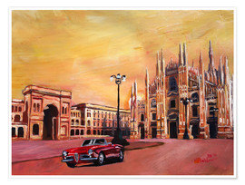 Premium poster Milan Cathedral with Oldtimer Convertible Alfa Romeo
