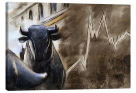 Canvas  Bull in front of Frankfurt Stock Exchange - Michael artefacti
