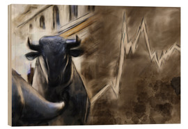 Wood print  Bull in front of Frankfurt Stock Exchange - Michael artefacti