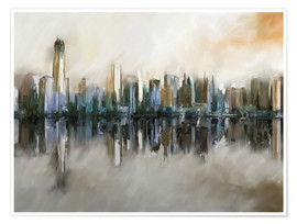 Poster  new york skyline abstract painting - Michael artefacti