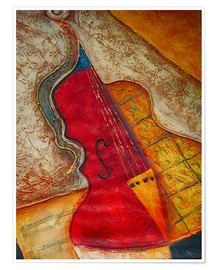 Premium poster Violin violin music abstract painting orange structure