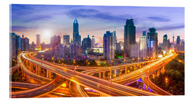 Acrylic print  Shanghai skyline and traffic at night - Jan Christopher Becke