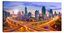 Canvas  Shanghai skyline and traffic at night - Jan Christopher Becke
