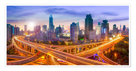 Premium poster  Shanghai skyline and traffic at night - Jan Christopher Becke