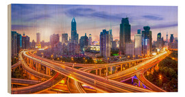 Wood  Shanghai skyline and traffic at night - Jan Christopher Becke