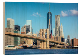 Wood print  New York: Brooklyn Bridge and World Trade Center - Sascha Kilmer
