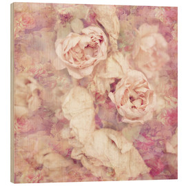 Wood print  Faded roses - INA FineArt