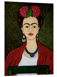 Foam board print  Frida portrait with dahlias - Madalena Lobao-Tello