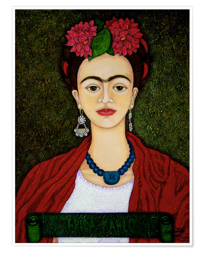 Premium poster Frida portrait with dahlias