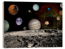 Wood print  Montage of the planets - Stocktrek Images