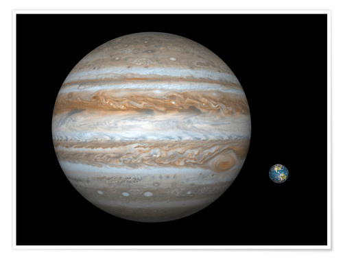 Premium poster gas giant Jupiter and Earth