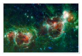Poster  Infrared mosaic of the Heart and Soul nebula - Stocktrek Images