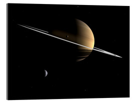 Acrylic glass  Saturn and its moons Dione and Tethys - Walter Myers